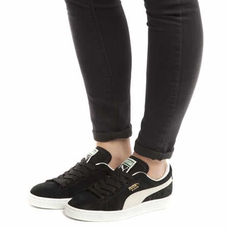 11081f69bd37 womens puma black   white suede classic trainers