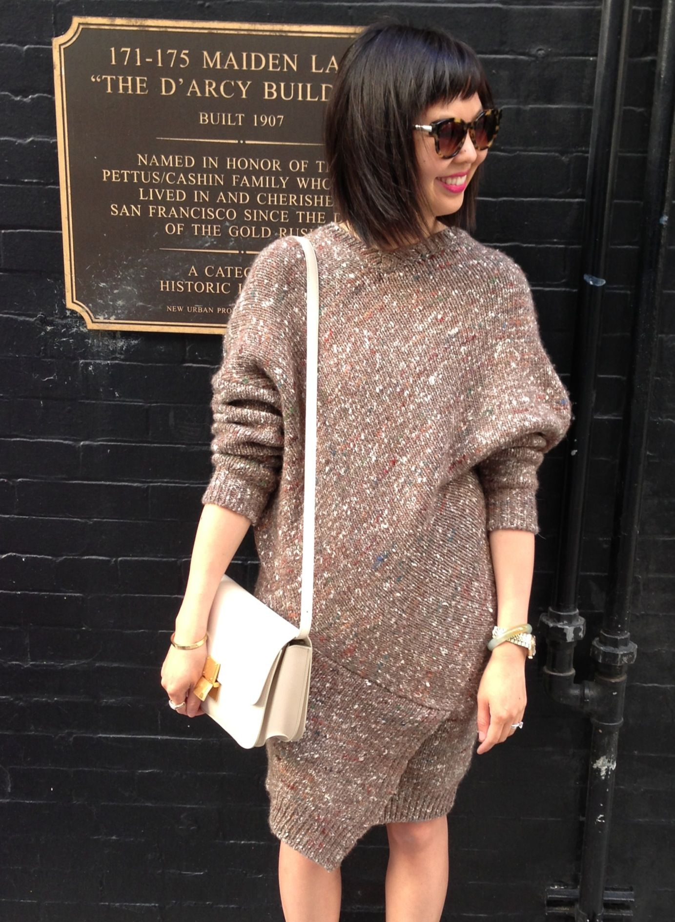 stella mccartney chunky knit sweater dress with celine box bag in ivory and  thierry lasry sunnies e879bdb4a5fd