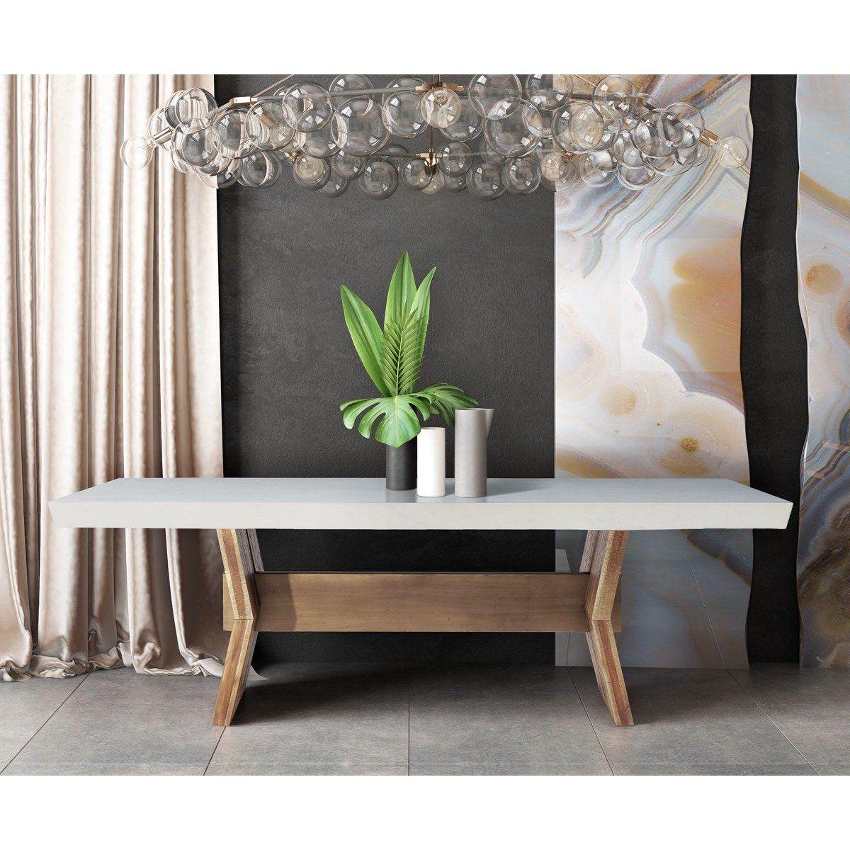 Tov Furniture Modern Astoria White Concrete Table Tov D7065 Concrete Dining Table Concrete Top Dining Table Dining Table In Kitchen