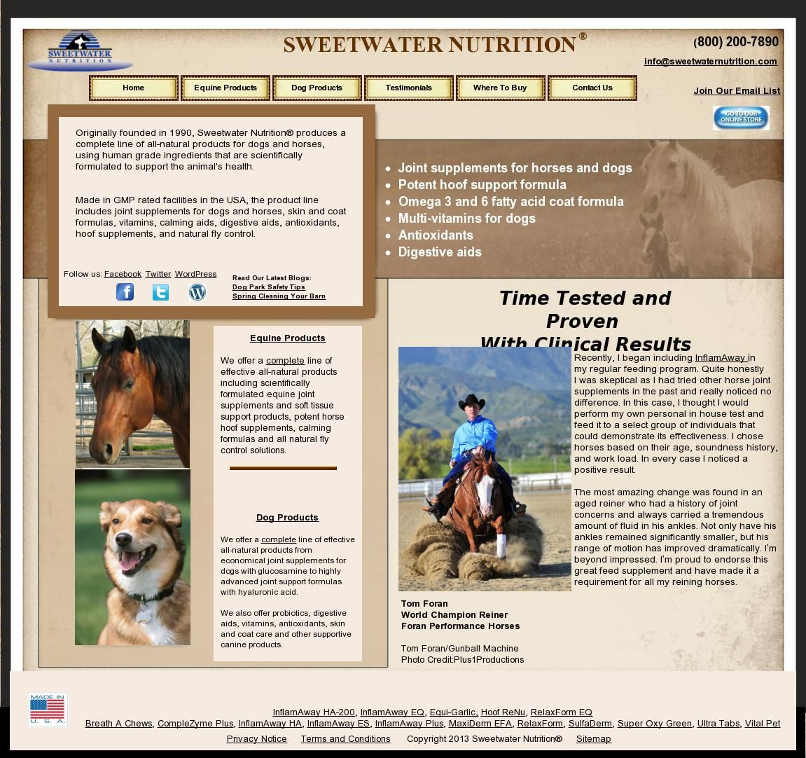 Www Sweetwaternutrition Com Sweetwater Horses And Dogs Dogs