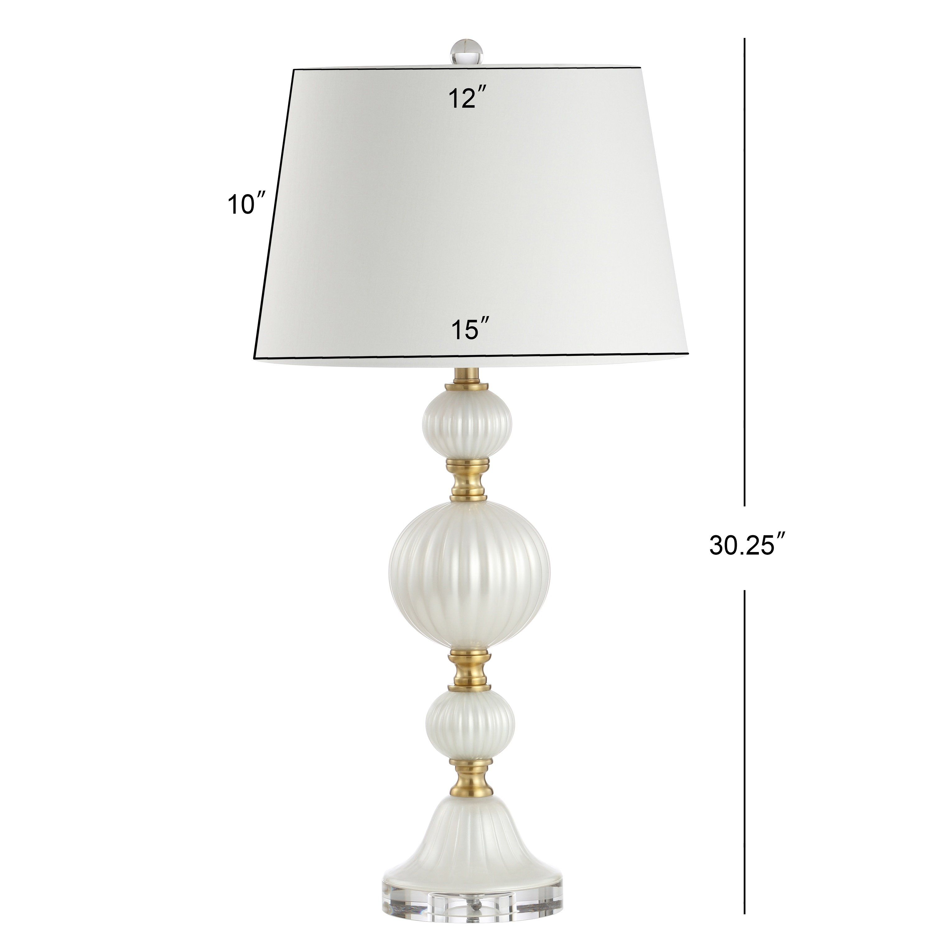 Photo of Glass/Crystal LED Table Lamp, White
