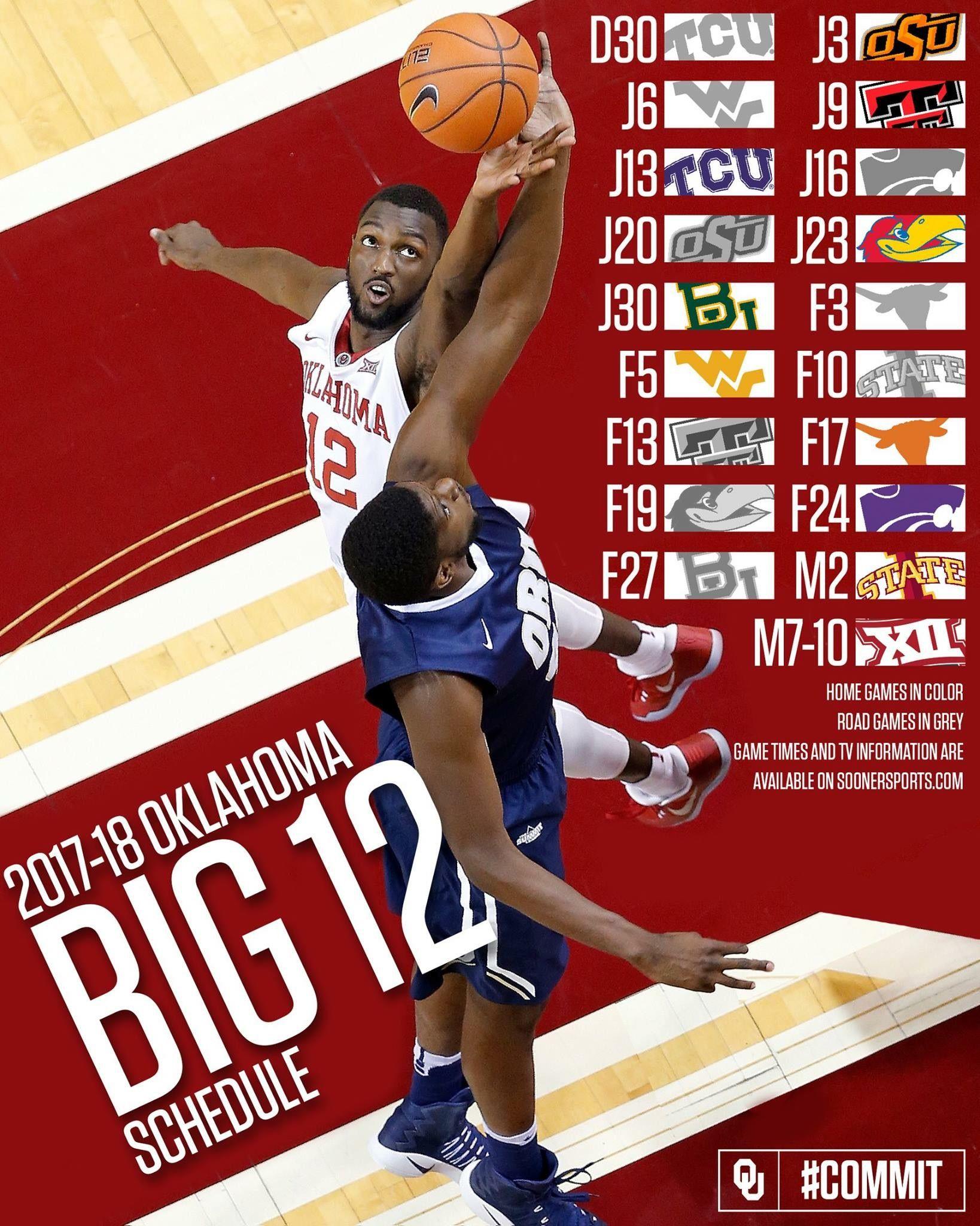 2017-18 Oklahoma Sooners Big XII Basketball Schedule. | Basketball ...