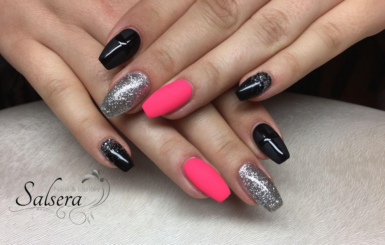 nails ballerina n gel multicolor pink black schwarz silber silver glitter matt extravagant. Black Bedroom Furniture Sets. Home Design Ideas