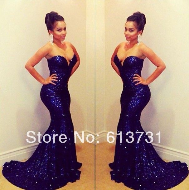 blue v boobtube long mermaid sequin sparkle dress | The Dress You ...