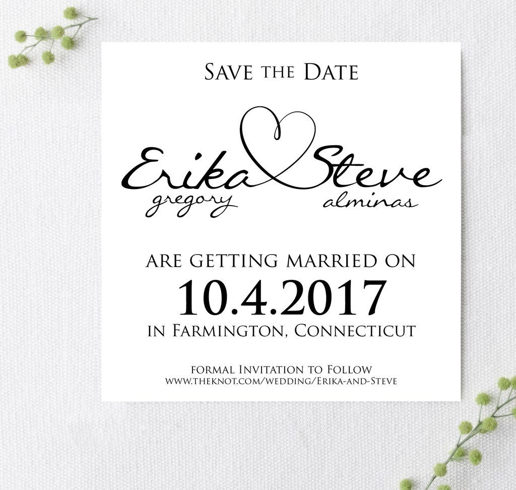 Heart Tied Names Wedding Save The Date Invitations Announcements