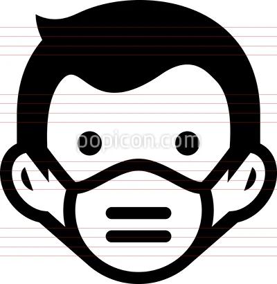 Man Wearing N95 Respirator Mask Icon Hospital Icon Icon Respirator Mask