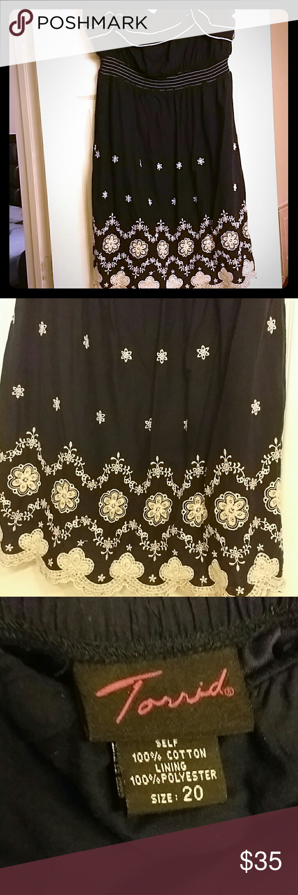Cute Bohemian style dress! Knee length navy and white. Boho cuteness! This dress is strapless with a sinched empire waist. Perfect for fall with a cute belt, little denim jacket, and cowboy boots or easy summer dress with sandals. Only worn once. Perfect condition. Offer welcomed! torrid Dresses Strapless