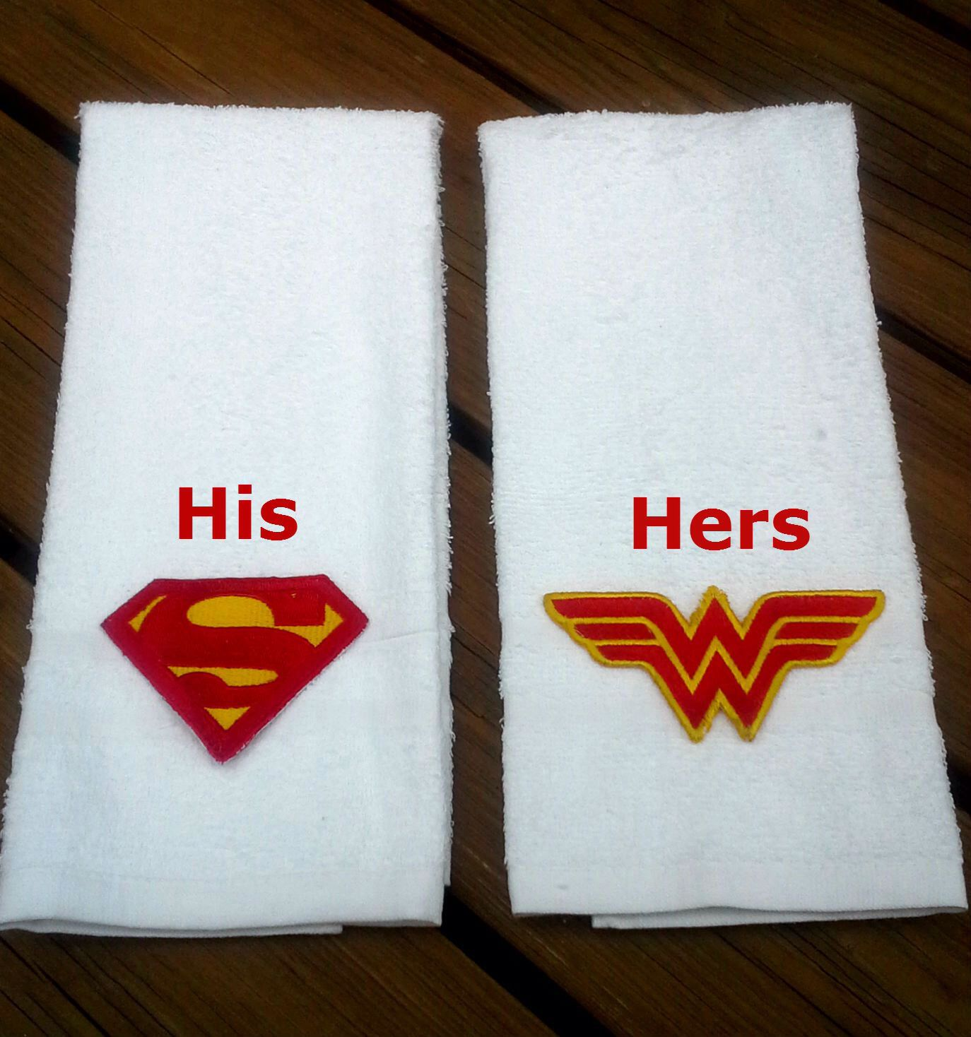 superman and wonder woman hand towel set super hero his and hers