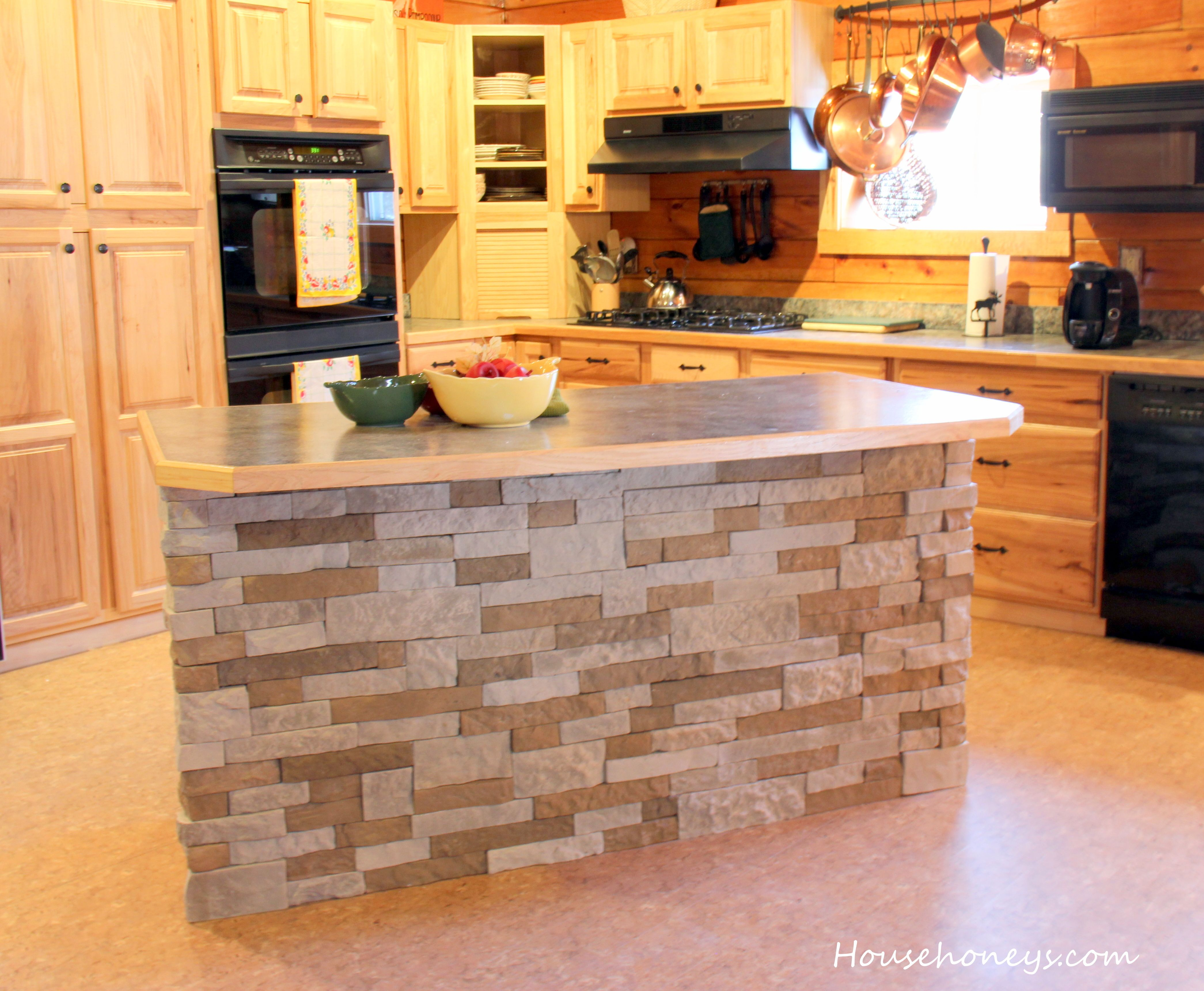 We Updated Our Kitchen Island With Airstone Stone Kitchen Island Kitchen Island Makeover Diy Kitchen Island