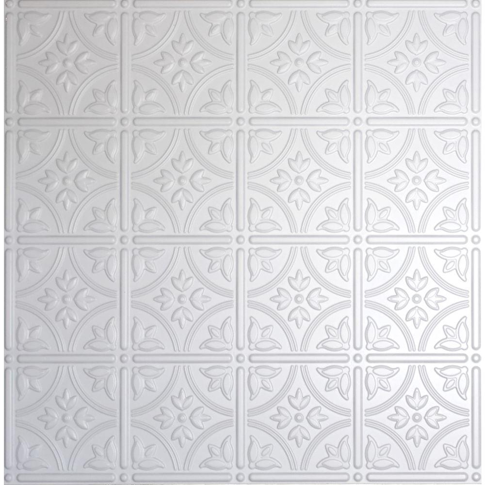 Global Specialty Products Dimensions 2 Ft X 2 Ft Matte White Lay In Tin Ceiling Tile For T Grid Systems Tin Drop Ceiling Tiles Tin Ceiling Tin Ceiling Tiles