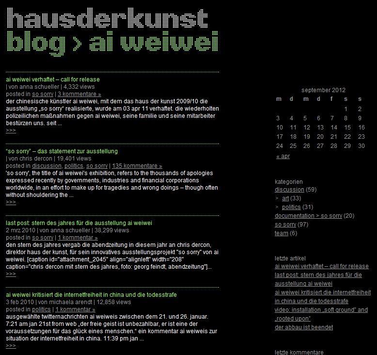 """Frage: """"@haus_der_kunst Wird es in Zukunft noch neue Artikel auf dem Ai WeiWei-#Blog oder einen allgemeinen Museumsblog geben? #AskACurator""""    Antwort: """"@MuseumsHeld Sorry für die Verspätung! Der #AiWeiwei Blog war projektbezogen und endete mit der Ausstellung im #HausderKunst #askacurator""""    Bildquelle: Screenshot, eigener Upload"""