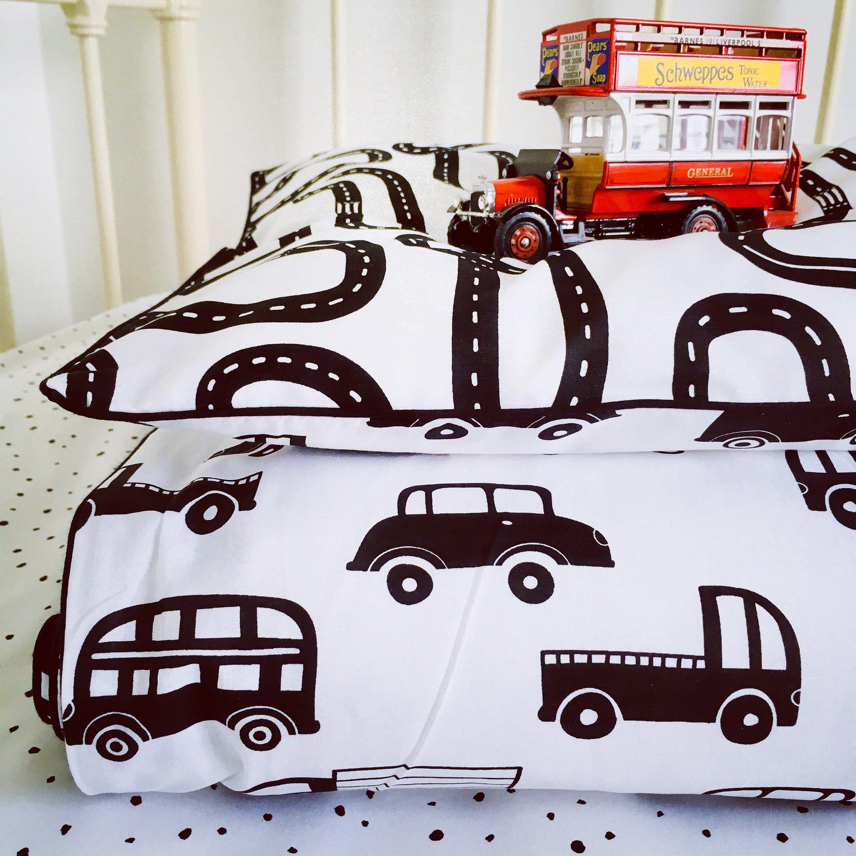 Little Driver Monochrome Pure Cotton Cot Bed Single Duvet Cover Black White Nursery Cot Bedding Single Duvet Cover Black Duvet Cover