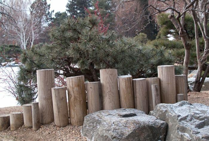 gartenideen holzpalisaden gartengestaltung ideen palisaden holz, Garten ideen