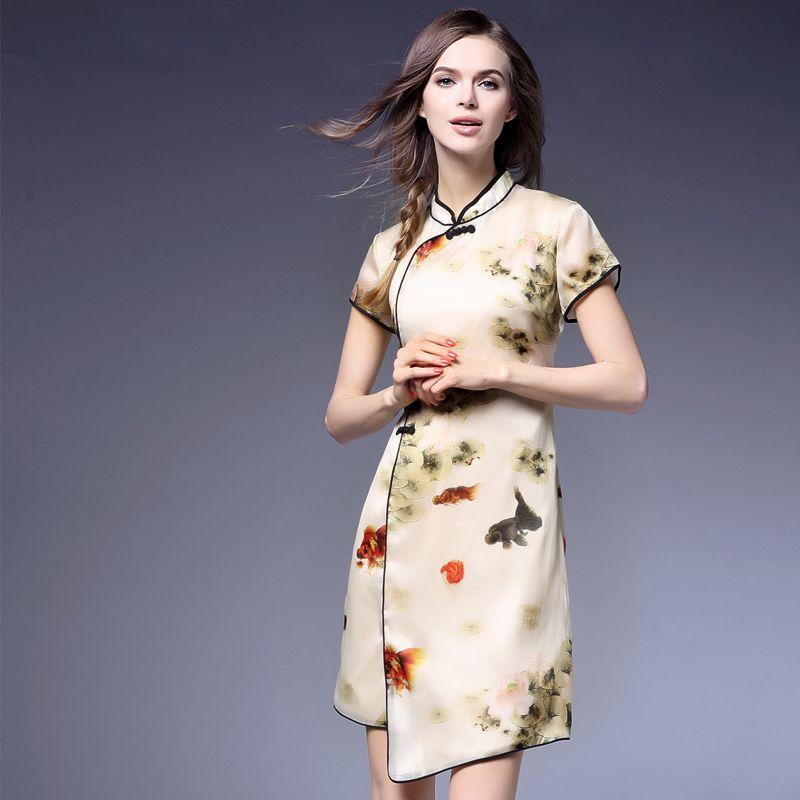Encontrar Más Vestidos Información acerca de 2016 Del Verano Del Estilo Chino Cheongsam Sexy Vintage Impresión…