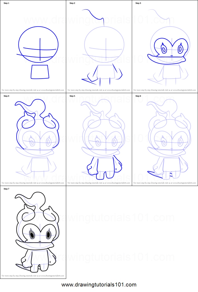How To Draw Marshadow From Pokemon Sun And Moon Printable Drawing Sheet By Drawingtutorials101 Com In 2020 Easy Pokemon Drawings Drawing Sheet Drawings