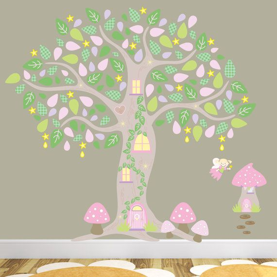 Penelope S Woodland Fairy Tale Nursery: Woodland Forest Decal, Girls Enchanted Wall Stickers, Pink