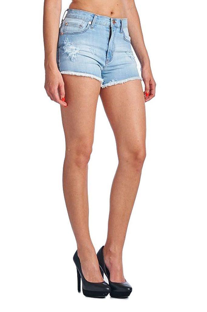 Raw Edge High Rise Denim Shorts - Light Blue #AngryRabbit #Shortshorts #Shorts