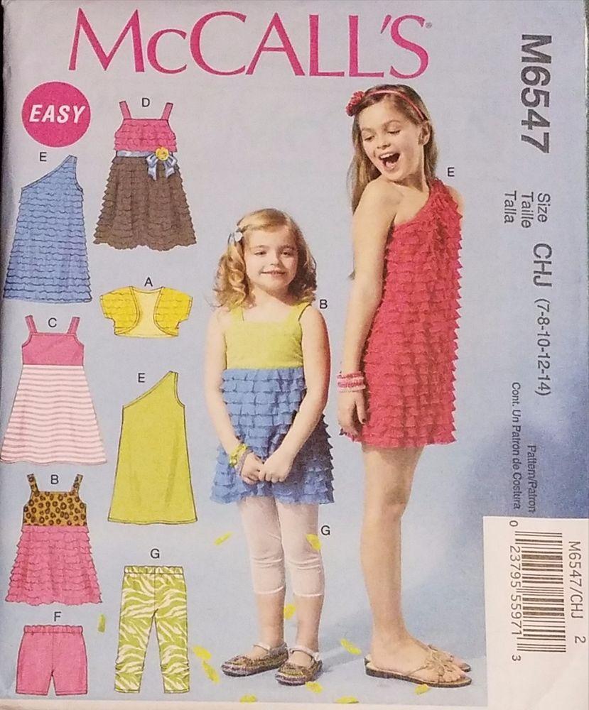 McCalls Pattern M6547 Girls\' Shrug, Top, Dresses, Shorts 7-14 New
