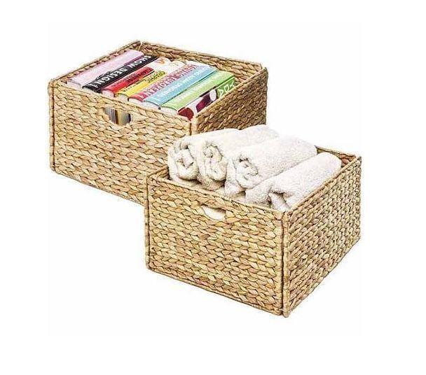 Delicieux Storage Cube Basket Woven Water Hyacinth Bathroom Kitchen Closet Crafts Set  Of 2