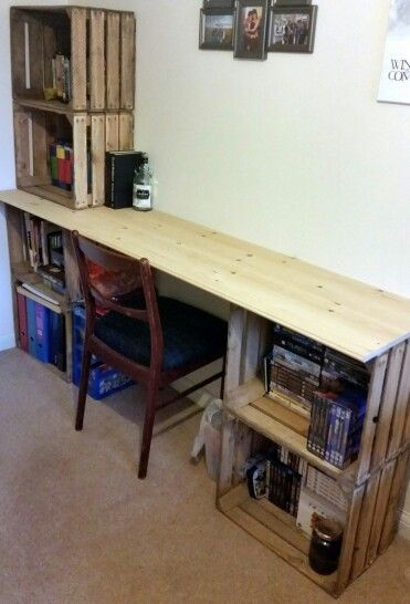 Vintage apple crate desk Ideas for the new house Pinterest Ha - rejas de madera