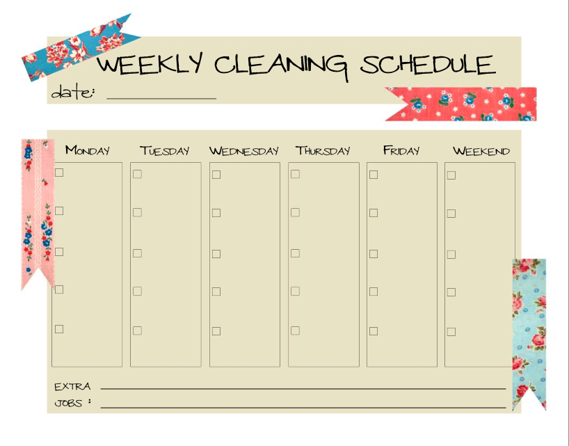 Love This Idea  A Weekly Cleaning Schedule To Keep Up With All