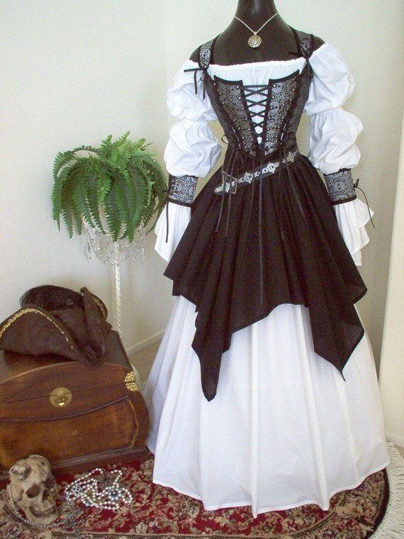 Gray and Black Skulls Pirate Wedding Renaissance Steampunk Costume.
