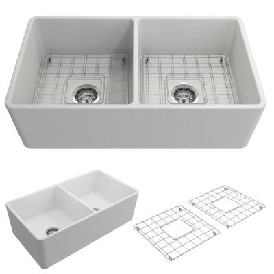 Bocchi Classico Farmhouse Apron Front Fireclay 33 In Double Bowl Kitchen Sink With Bottom Grid And Strainer In Matte White Double Bowl Kitchen Sink Fireclay Farmhouse Sink Apron Front Sink