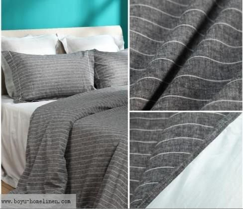 100%linen Stripes Bed Sheet   Linen Bed Sheets   Hotel Bed Linen Suite