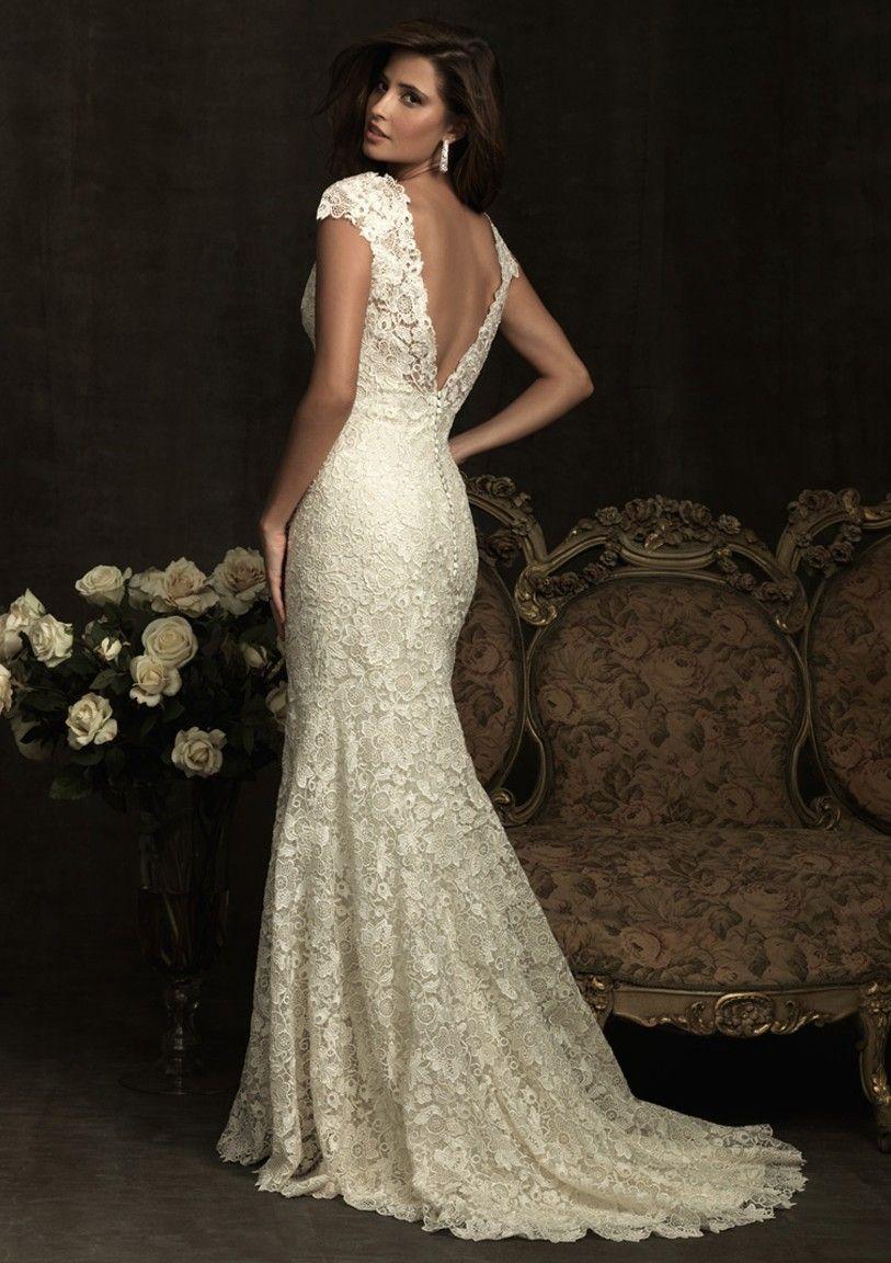 Mermaid lace wedding dress  SweepBrush Train MermaidTrumpet Vneck Ivory Lace Wedding Dress