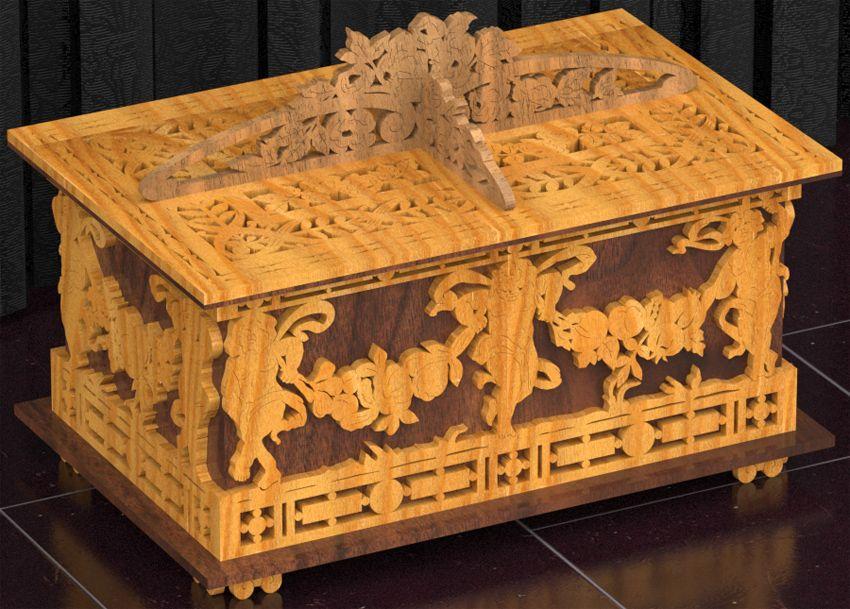 Cofre de los querubines plano para madera calada con - Madera para marqueteria ...