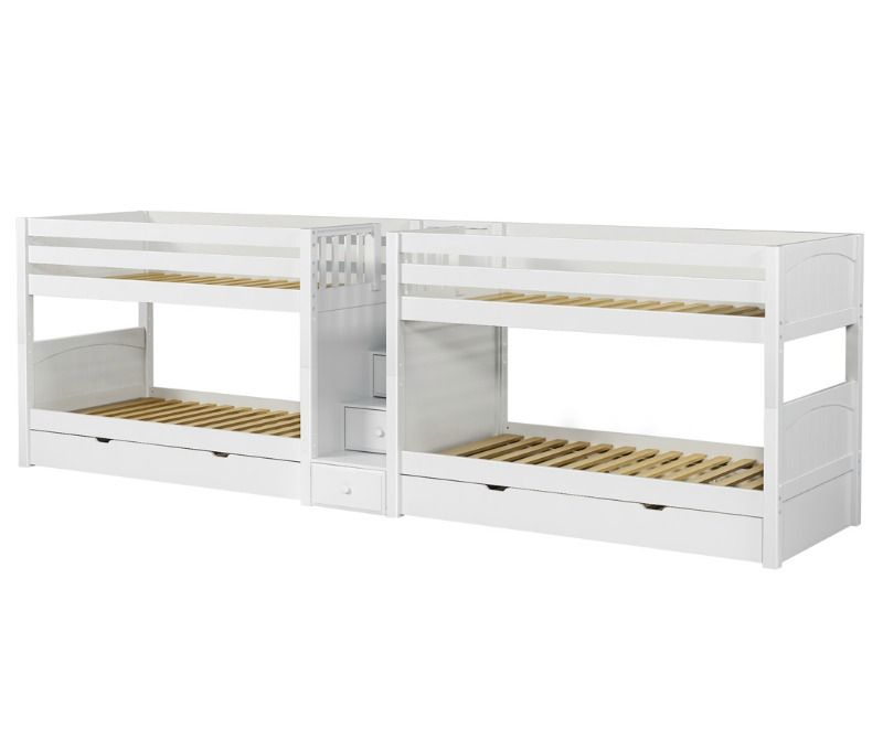 Quadruple Bunk Bed With Staircase In Middle : Twin : White : Panel