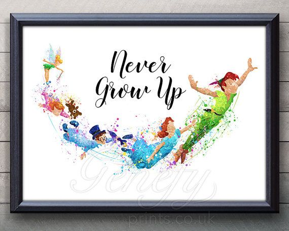 Disney Peter Pan Never Grow Up Quote Watercolor Art Poster Print