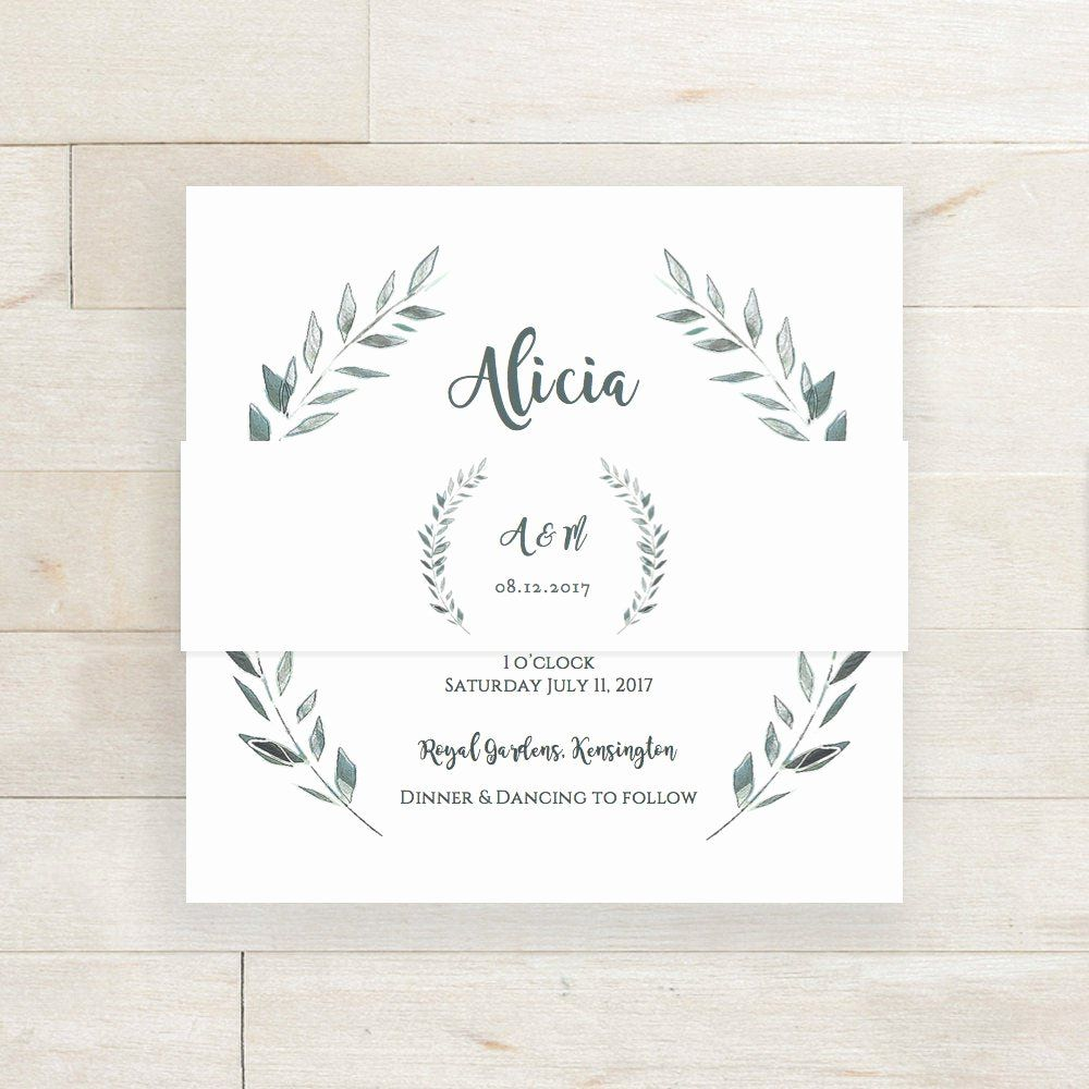 Beautiful wedding invitation belly band template belly