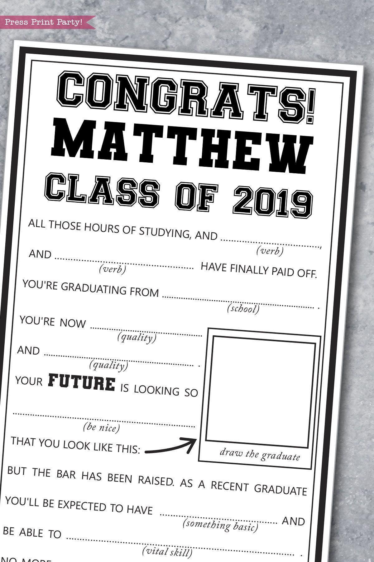 Graduation Mad Libs Printable Advice Card High School