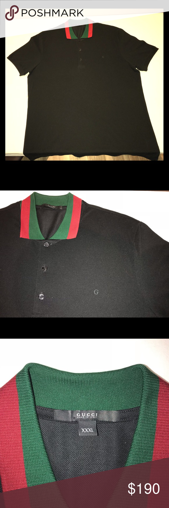 0517994f Gucci Polo This black Gucci polo with red & green collar is in excellent  condition;