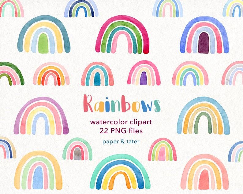 Watercolor Rainbows Clipart Graphics Colorful Nursery Etsy Rainbow Clipart Clip Art Pastel Rainbow