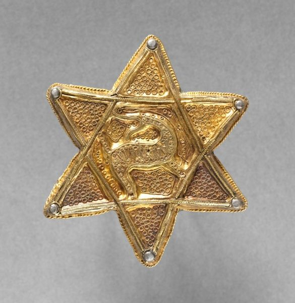 Brooch in the Form of a Six-Pointed Star, late 700s-early 800s       Frankish, early Carolingian, late 8th century - early 9th century     gold with repoussé and filigree decoration; copper backplate,                                 Frankish, early Carolingian, late 8th c...