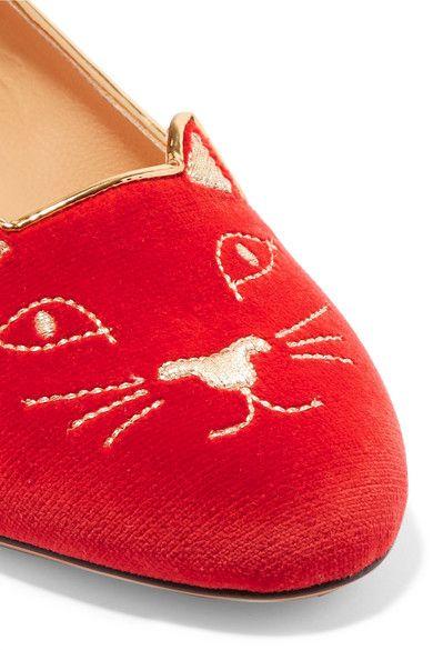 Charlotte Olympia - Kitty Embroidered Velvet Slippers