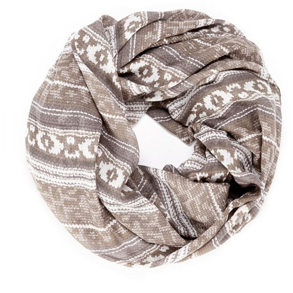 Sole Society knit print infinity scarf ($17) ❤ liked on Polyvore featuring accessories, scarves, tube scarf, knit scarves, knit shawl, knit circle scarf and knit infinity scarf