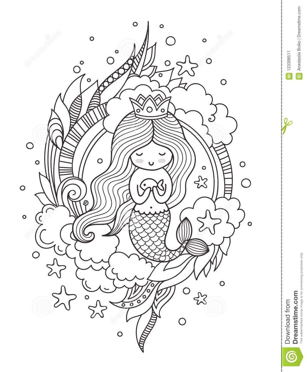 Mermaid Queen Coloring Page Youngandtae Com Mermaid Coloring Pages Princess Coloring Pages Horse Coloring Pages