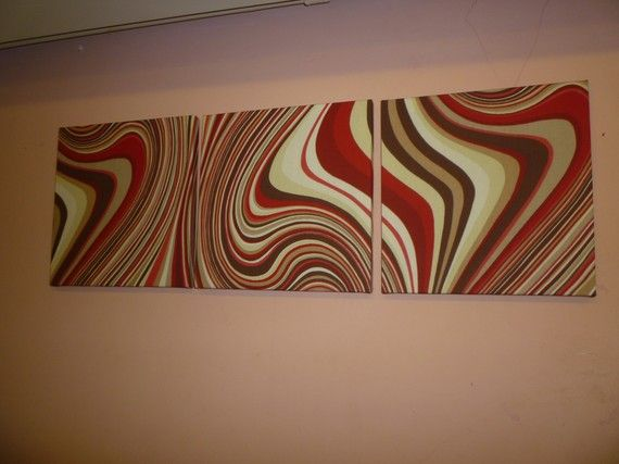 Red Fabric Wall Art Red Chocolate Brown Cream by WickedWalls