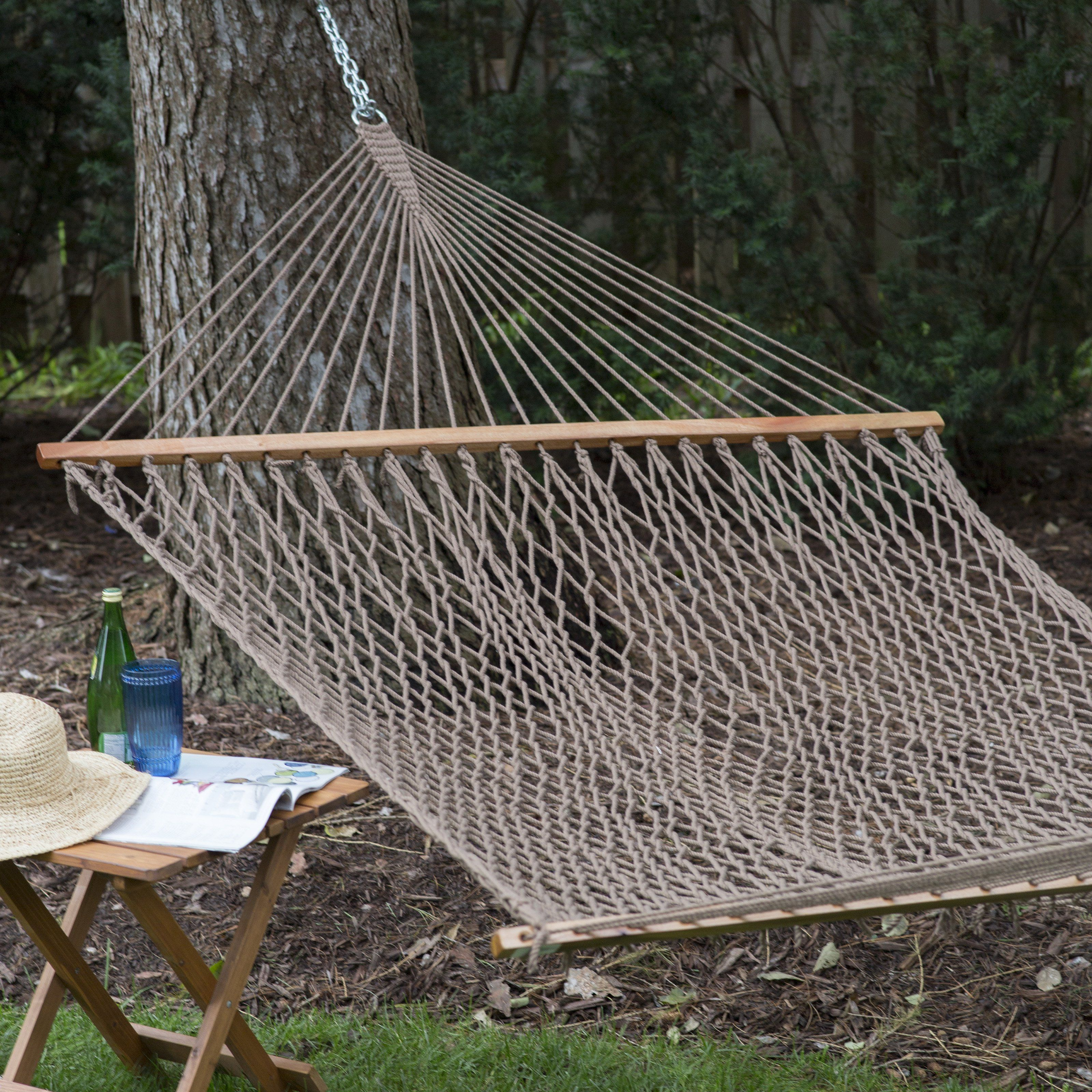 Island Bay Xl Color Dyed Thick Rope Double Hammock With Free
