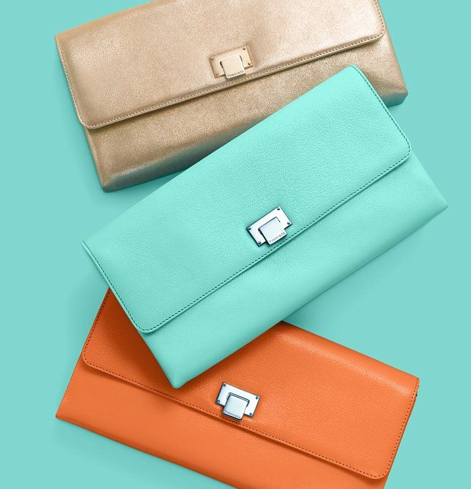 Piper clutches in metallic gold, Tiffany Blue® and tangerine. Tiffany Leather collection: http://bit.ly/FRM4xm