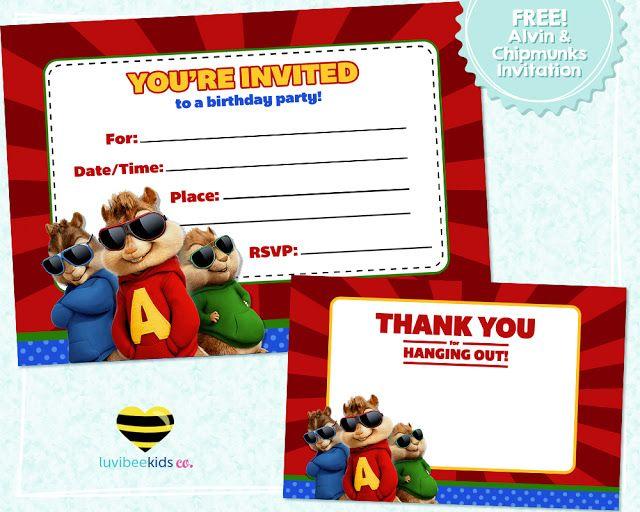 Luvibee Kids Company Free Printable - Alvin  the Chipmunks - free birthday invitation e cards