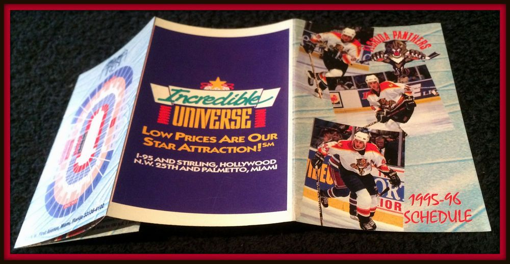 5d173ddf84f 1995-96 FLORIDA PANTHERS INCREDIBLE UNIVERSE HOCKEY POCKET SCHEDULE FREE  SHIP  Pocket  Schedule