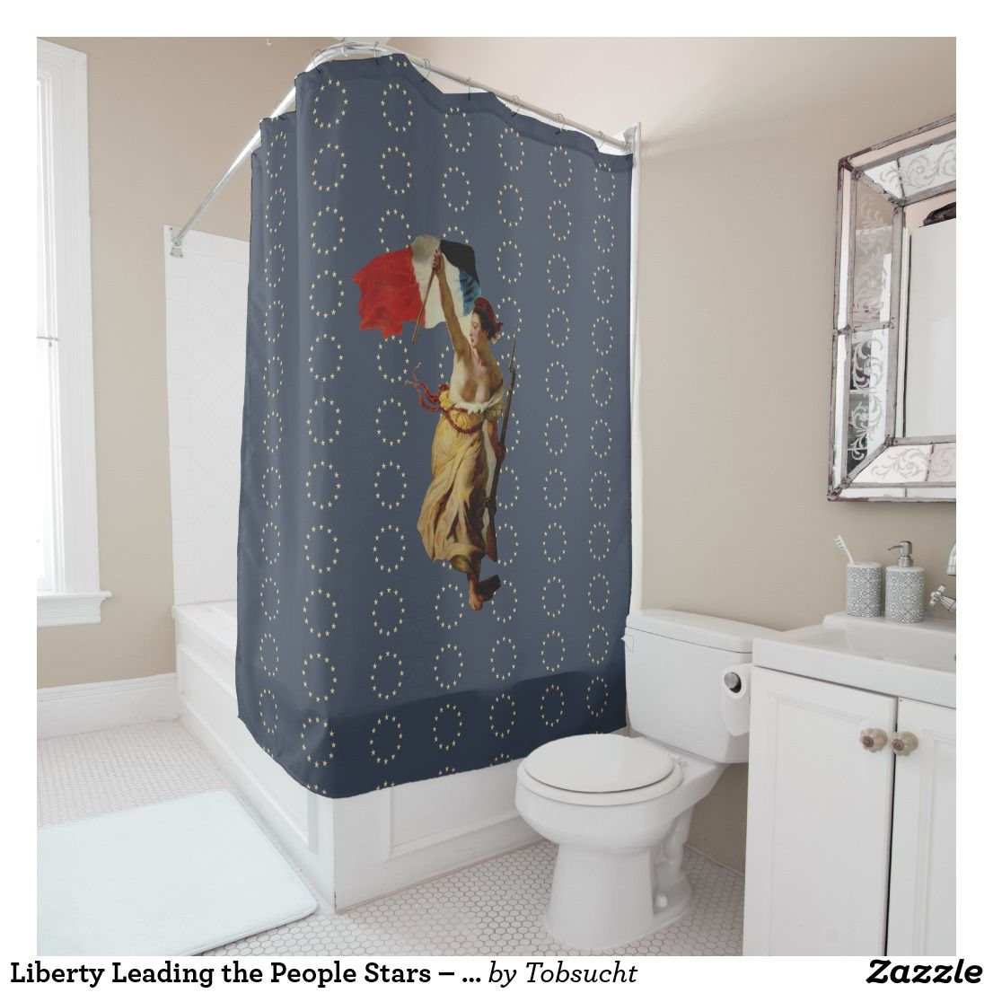 Liberty Leading The People Stars Europe Duschvorhang Zazzle De
