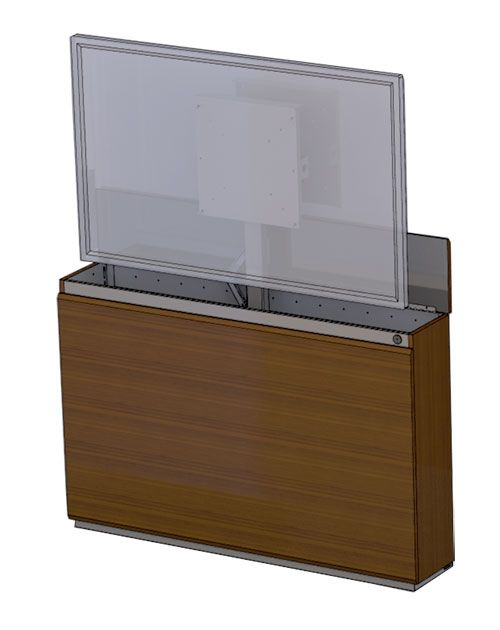 wall mounted credenza tv lift cabinet for 60 flatscreen tv it features a vented metal frame. Black Bedroom Furniture Sets. Home Design Ideas