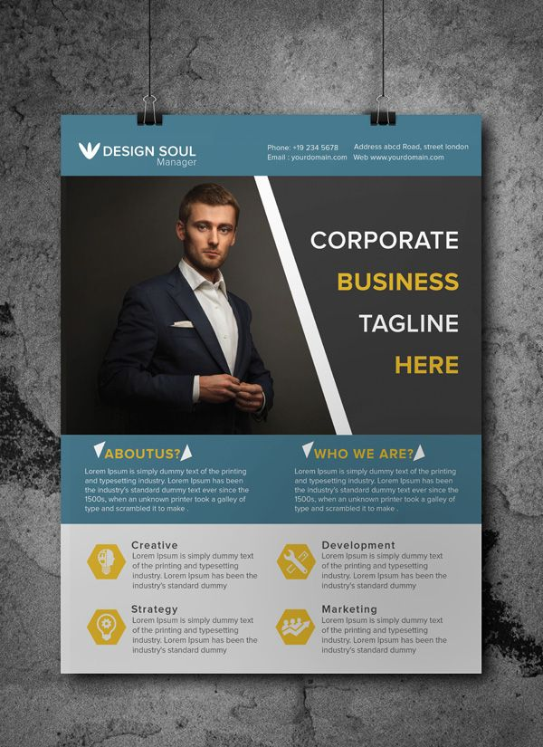 Free corporate business flyer psd template misc pinterest free corporate business flyer psd template accmission