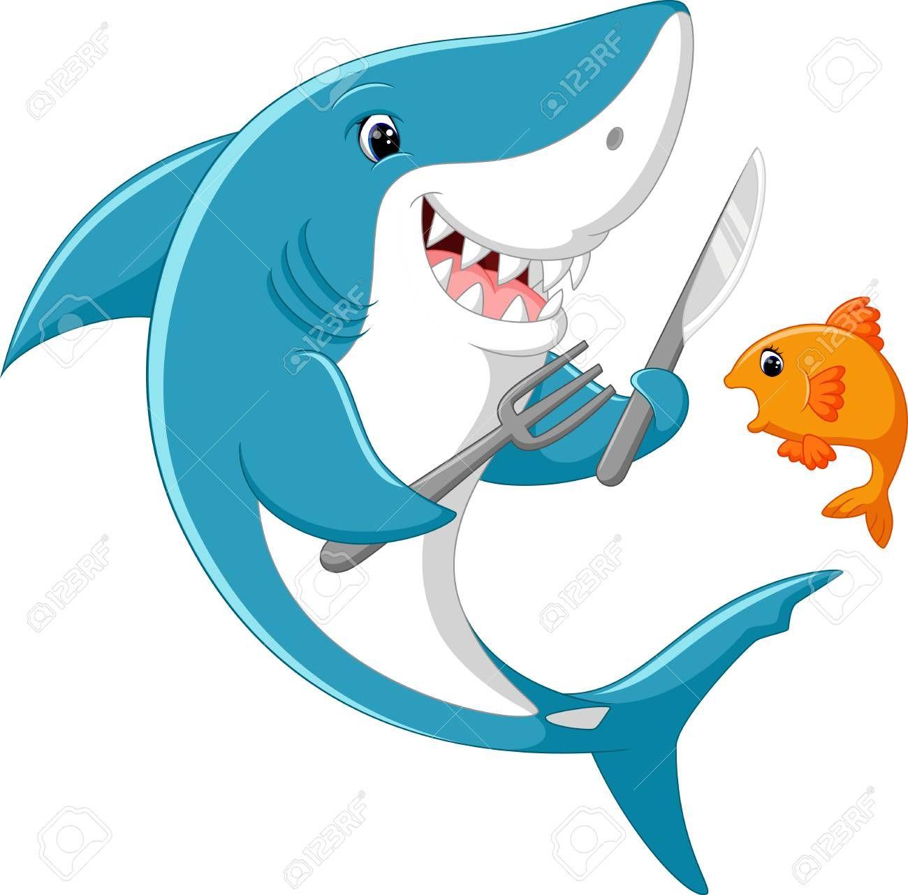 Cute Shark Cartoon Stock Photo Ad Shark Cute Cartoon Photo Stock Cute Shark Shark Art Fish Vector