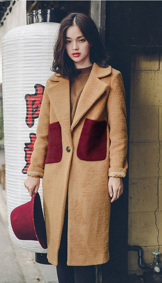 Fashiontroy Creative & playful long sleeves lapel collar camel gray pocket two-tone wool blend coat